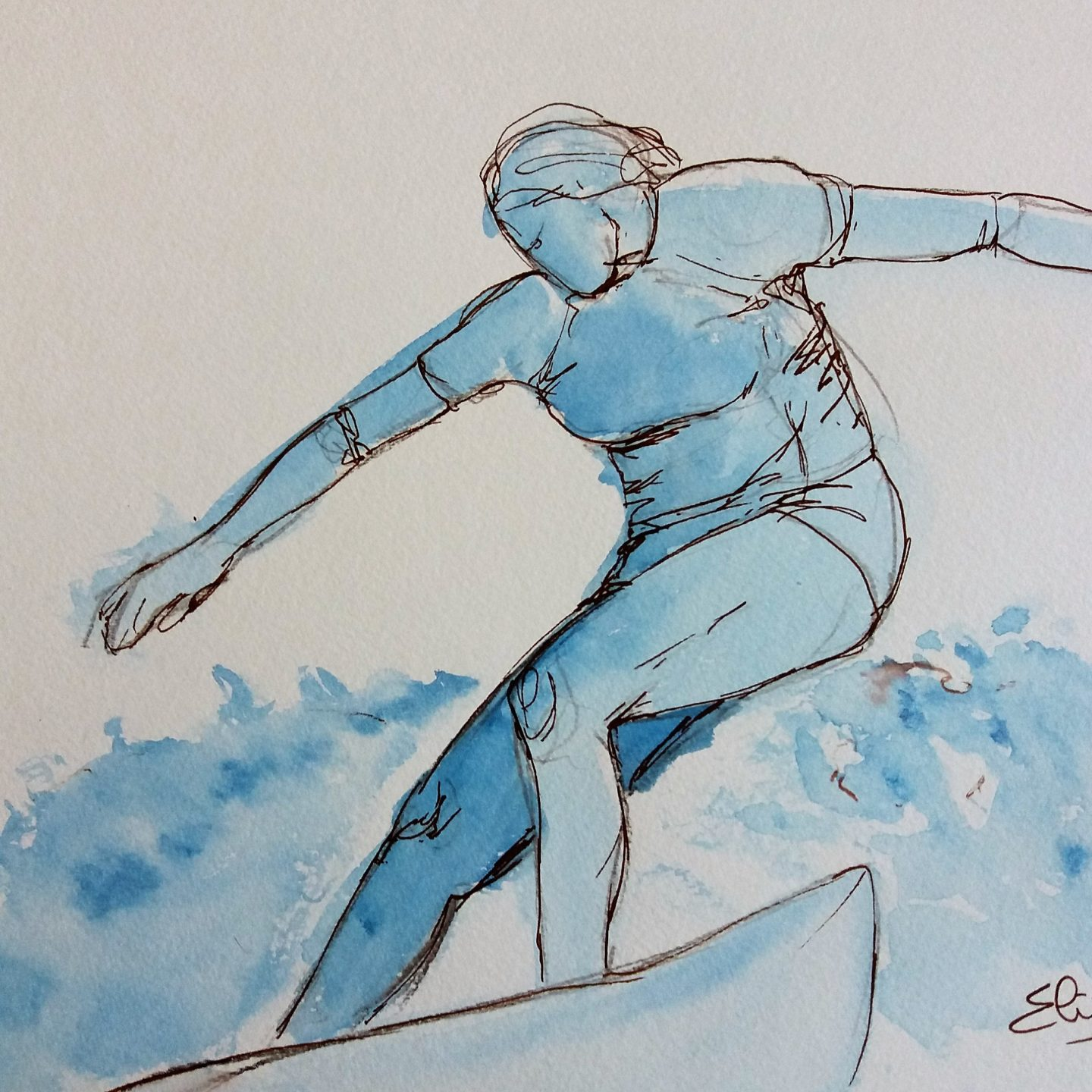 Surfer sur la vague en 4 dessins