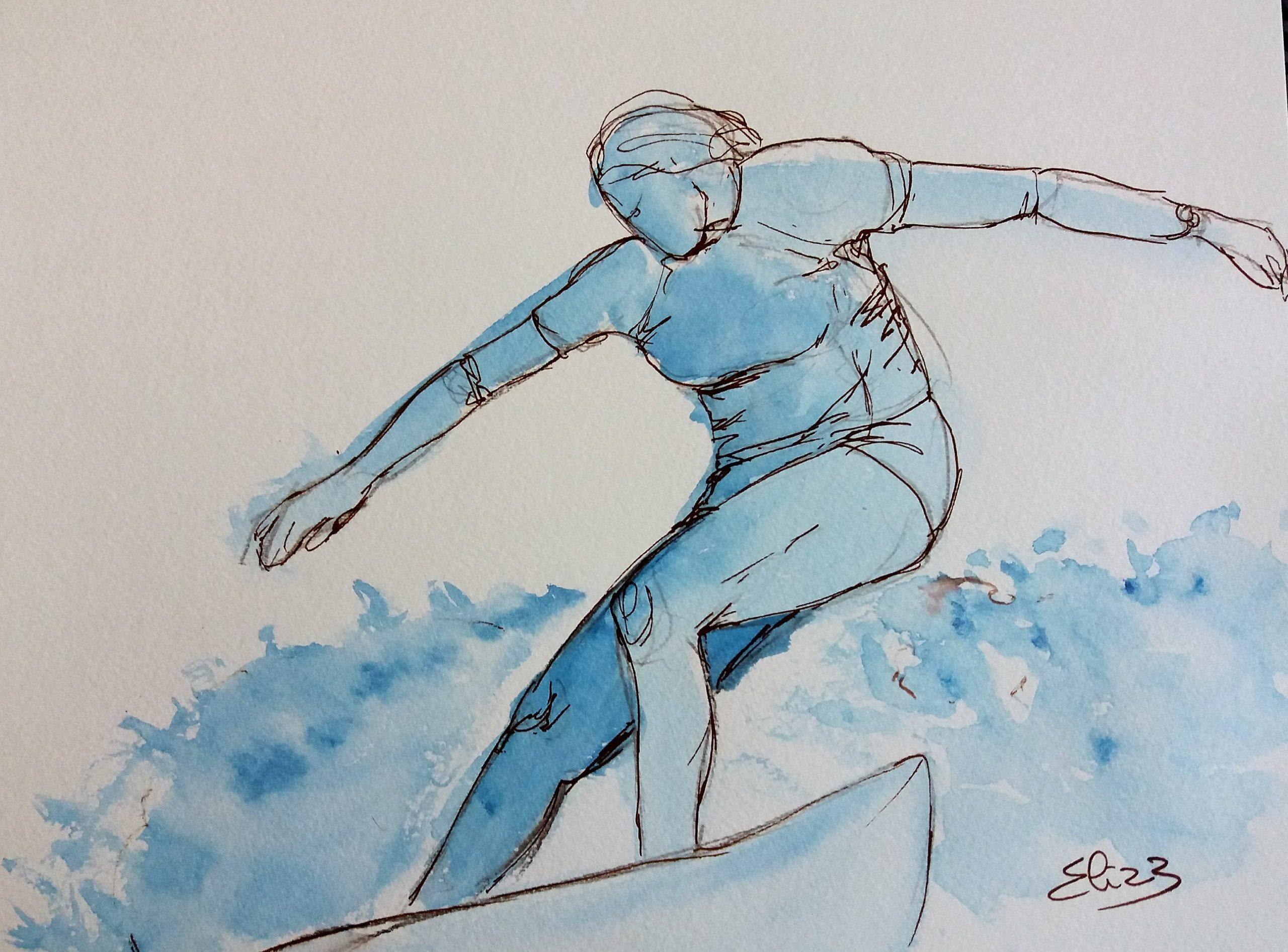 surfer sur la vague, surfeuse sur la plage, dessin esquisse par elize pour pigmentropie encre bleu et trait marron