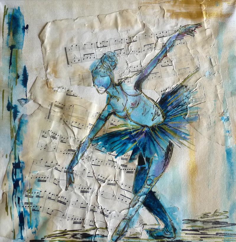 révérence danseuse en tutu pointe danse classique dessin esquisse artwork Elize pigmentropie papier à musique music paper