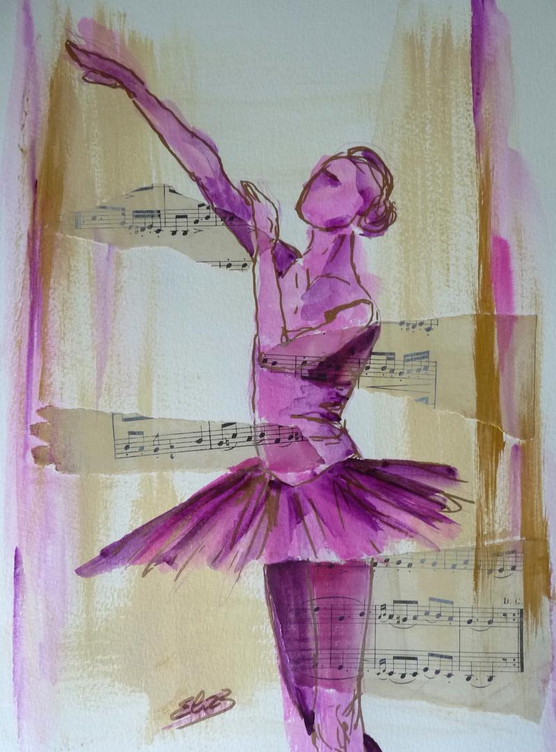 danseuse main levée tutu papier esquisse rose Elize pigmentropie dessin danse classique