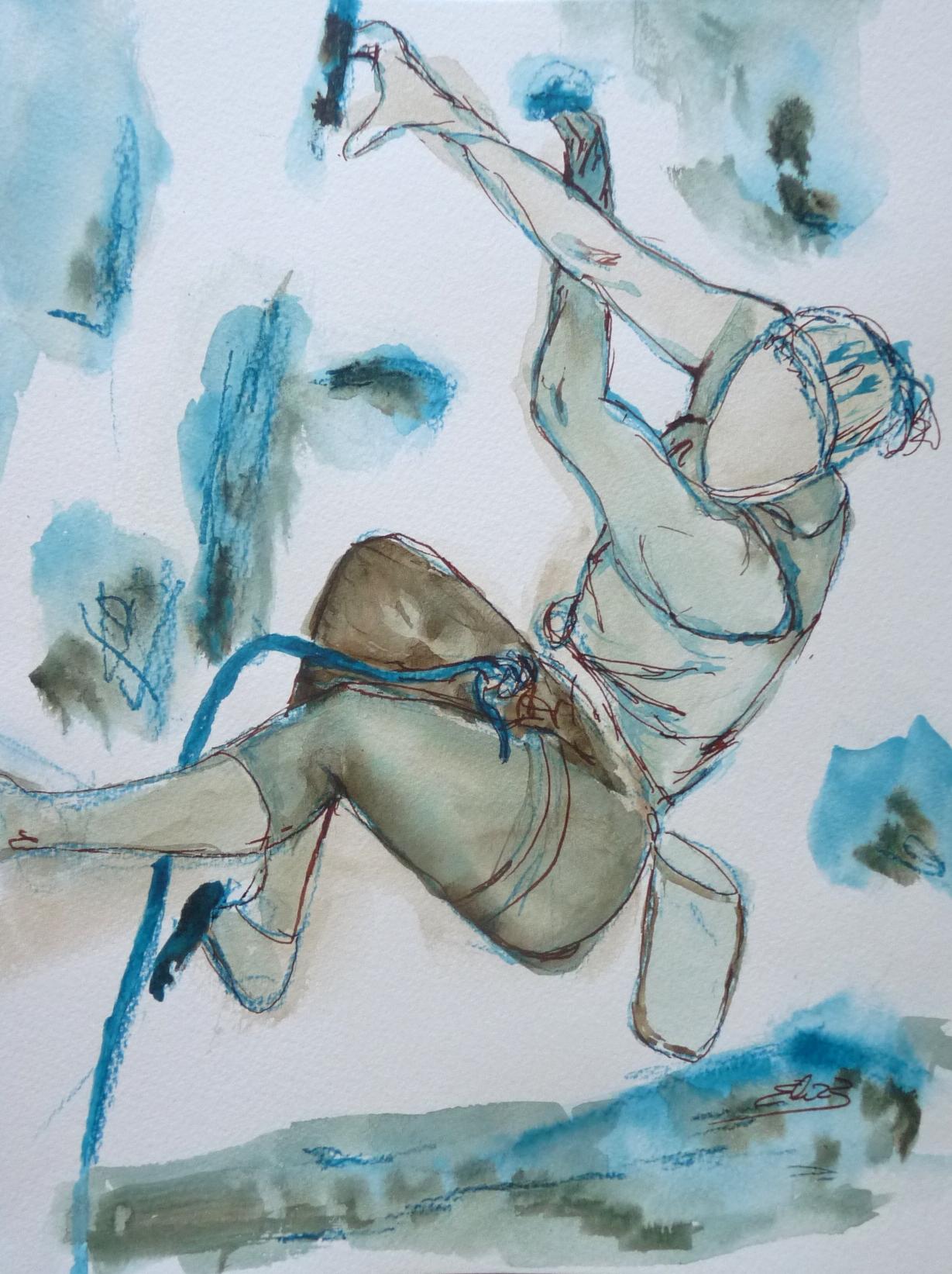 escalade grimper dessin bleu encre Elize pigmentropie
