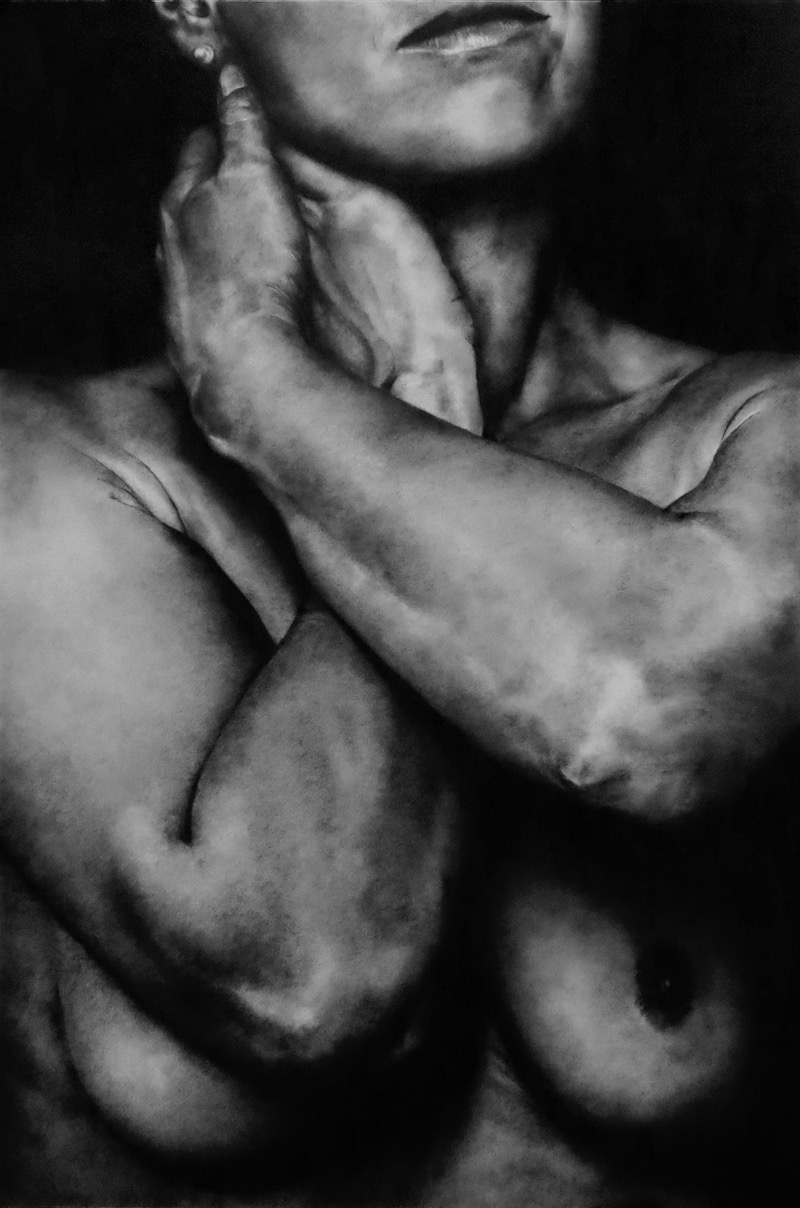 bras croises buste modele vivant fusain Hayley Jay