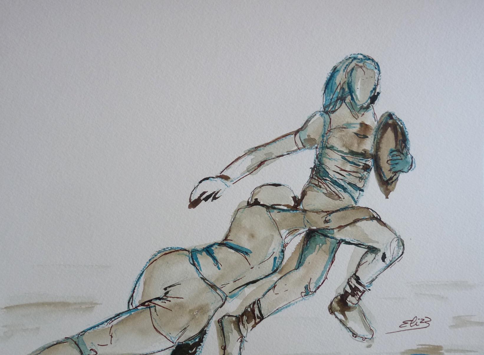 rugby woman joueuse dessin vert marron encre Elize pigmentropie