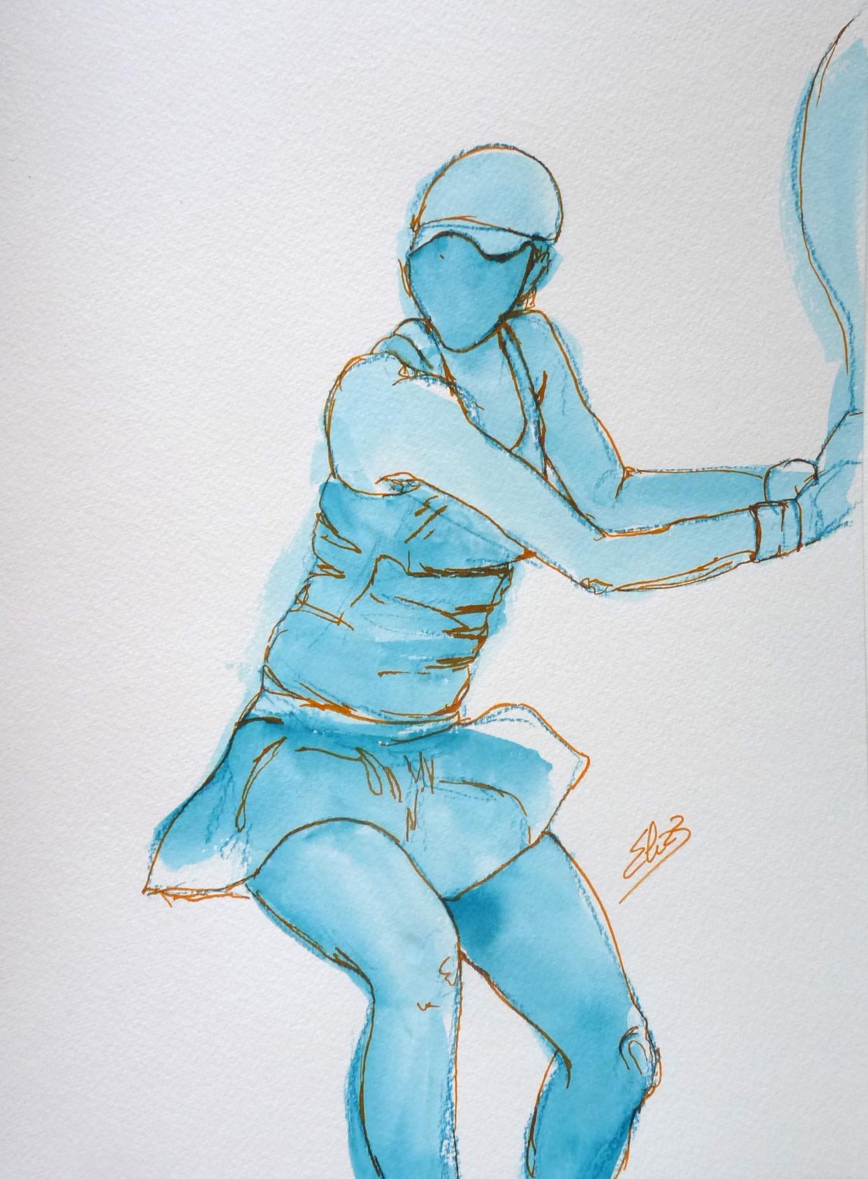 tennis tenniswoman joueuse dessin bleu encre Elize pigmentropie