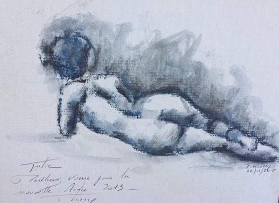 femme couchée modele vivant nu Thierry roumi