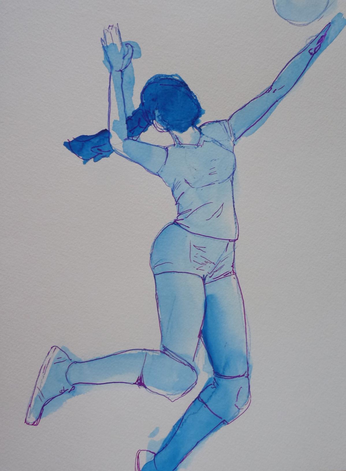 volley ball joueuse dessin bleu encre Elize pigmentropie