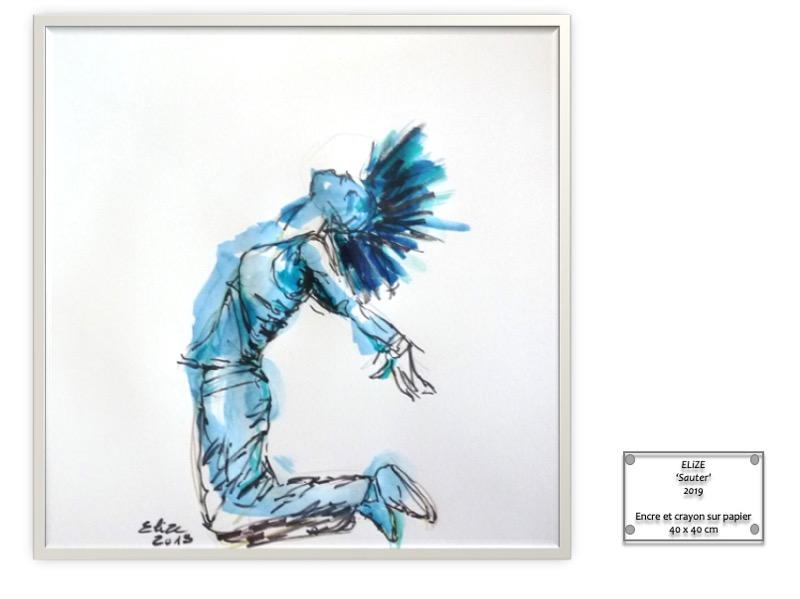 cartel dessin encadré saut femme Elize oeuvre originale aquarelle