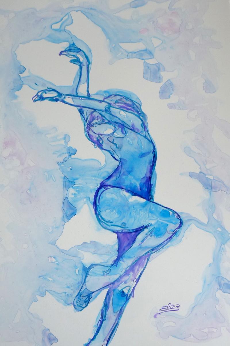 femme danseuse se mêlant à l'encre bleue effet artistique incroyable oeuvre d'art Elize pigmentropie