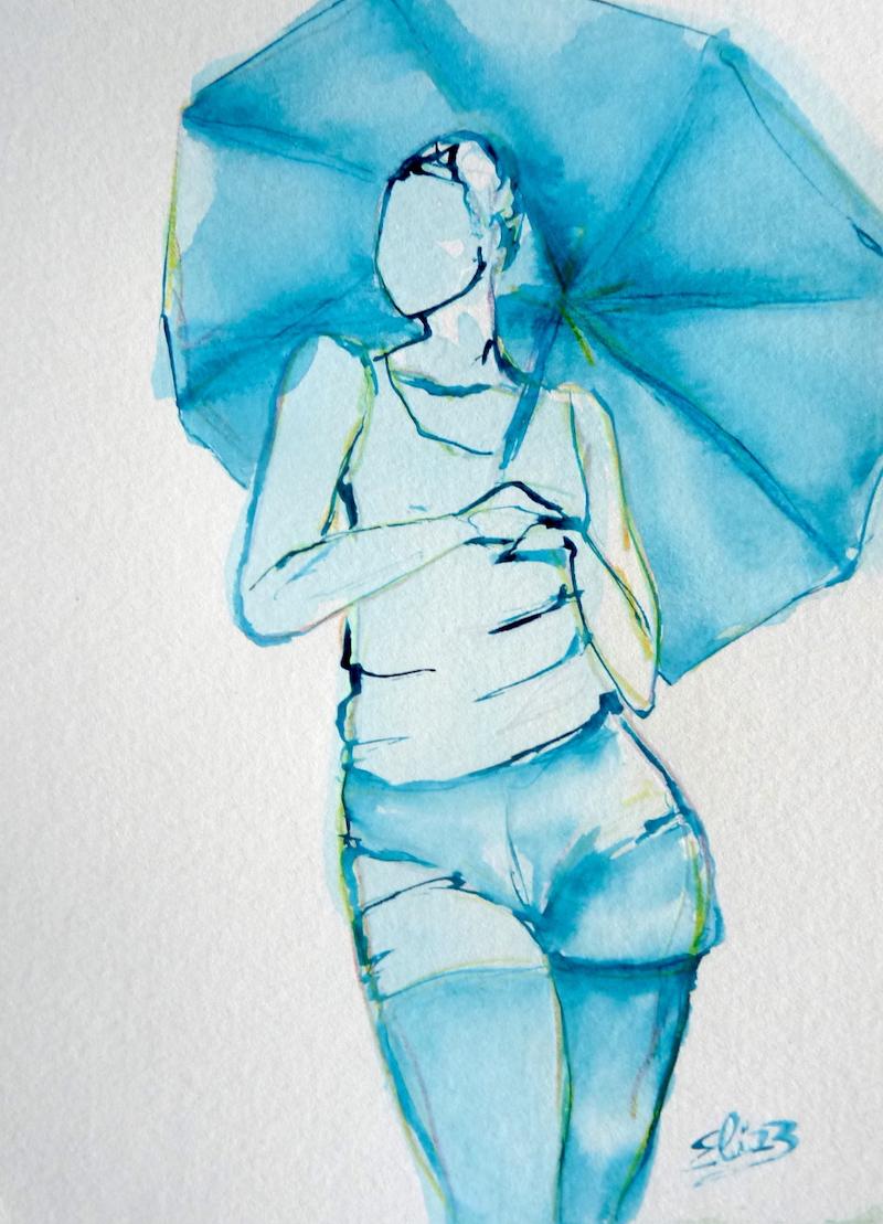 esquisse d'une femme en short tenant une parapluie dessin d'art encre bleue et crayon par Elize