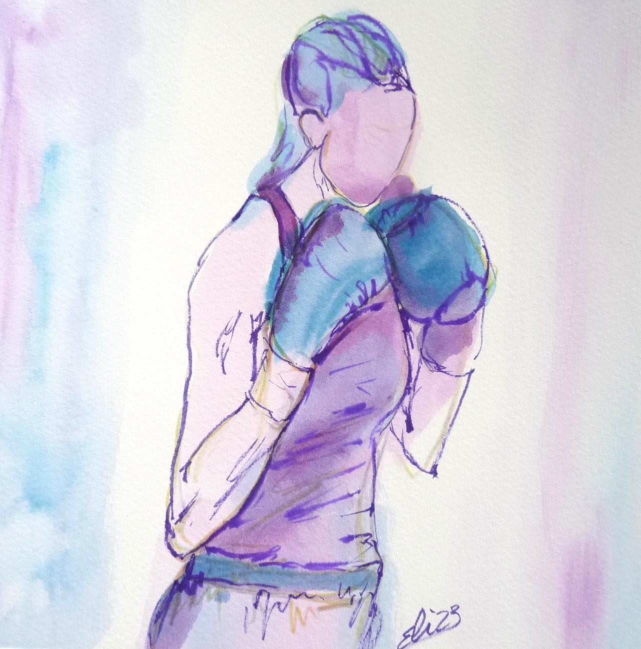 boxeuse sportive gant boxe sport feminin croquis violet dessin art