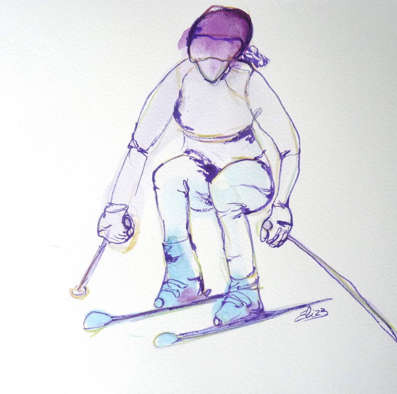 skieuse sportive neige croquis artistique original art pigmentropie
