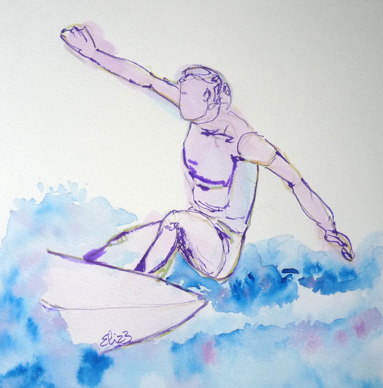 femme sportive vague surf croquis violet et bleu sportive femme