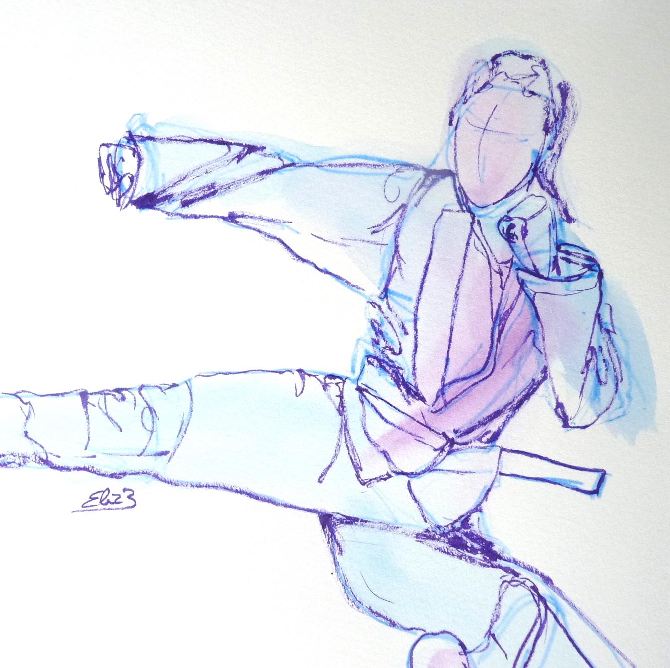 femme karaté saut dessin croquis esquisse elize pigmentropie femme libre battante