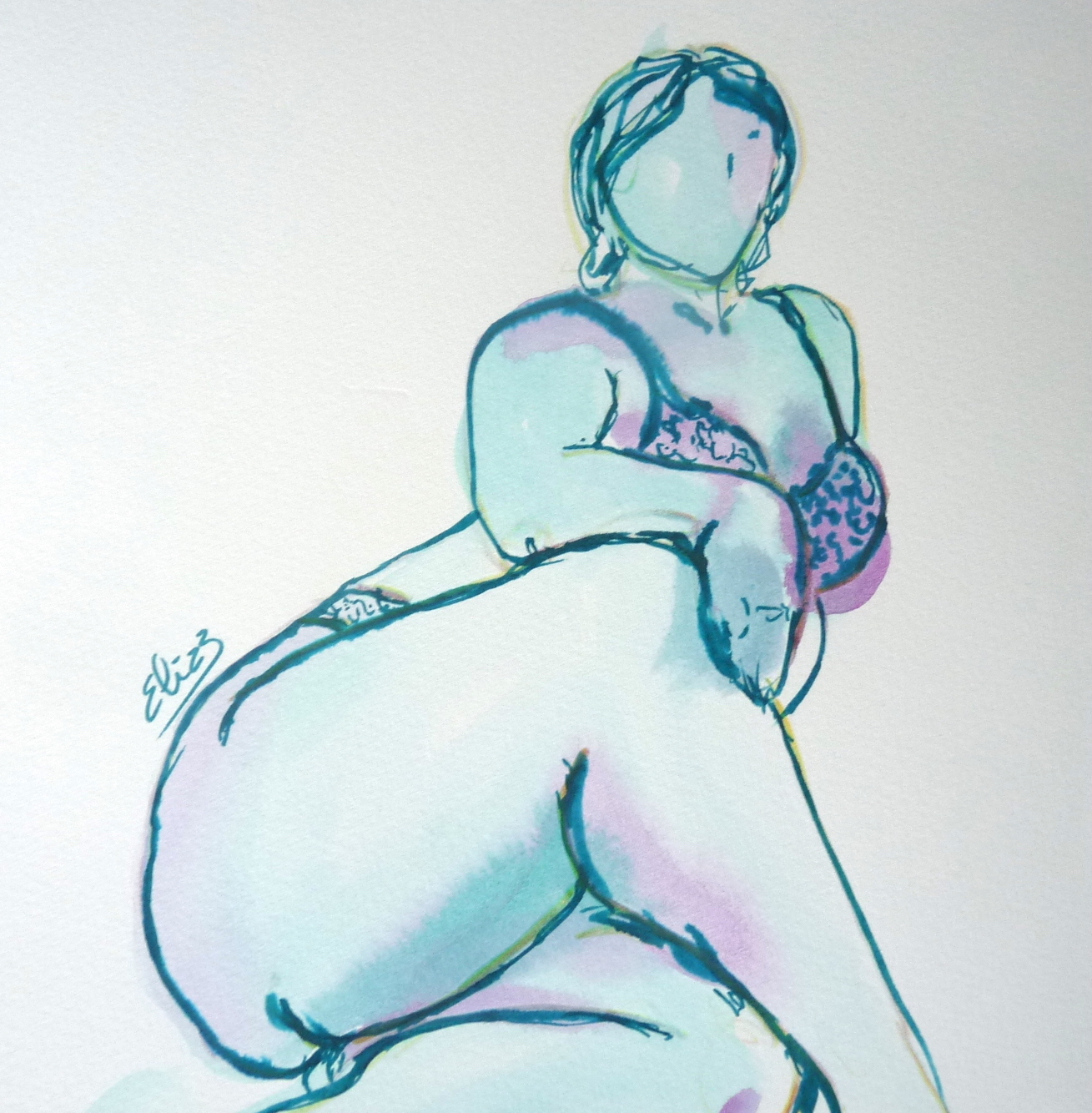 femme ronde croquis elize pigmentropie bodypositive grossophobie feminisme