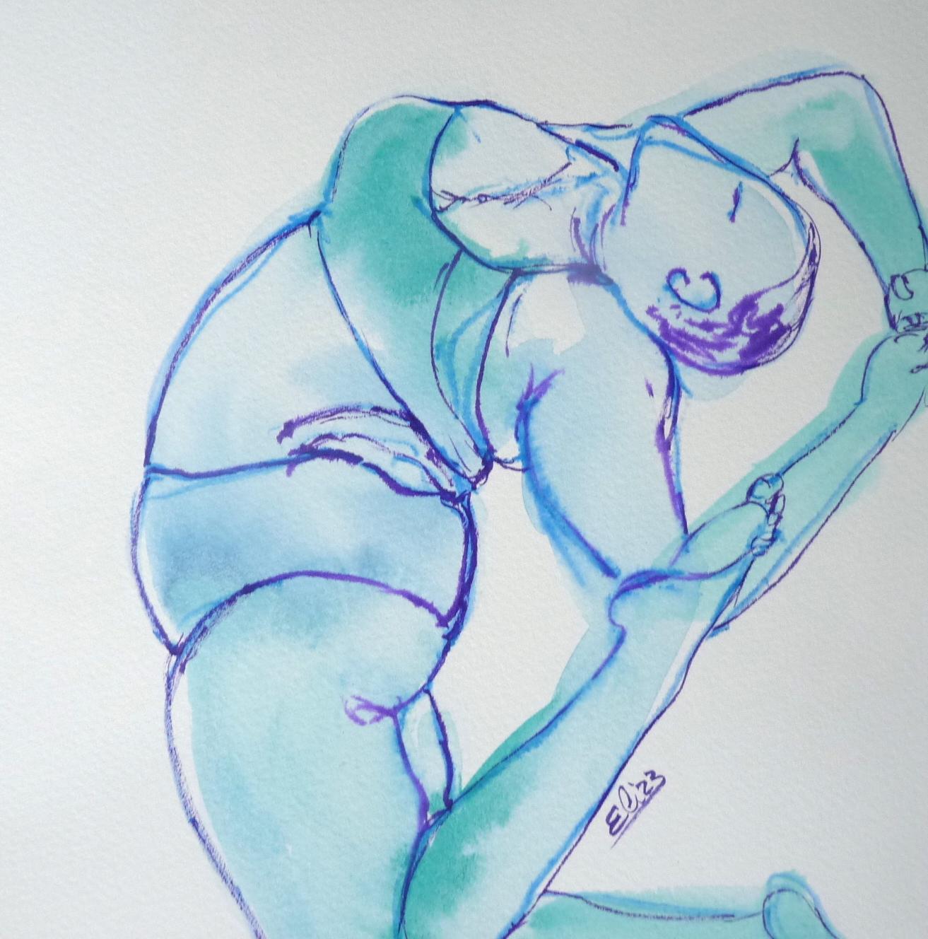 yoga femme ronde esquisse croquis artistique dessin encre bodyacceptance Jessamyn