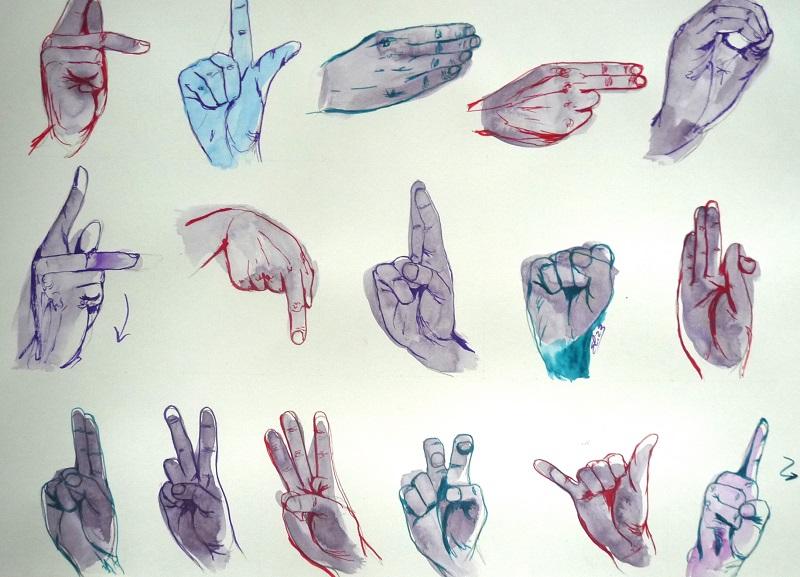 langue des signes dessin de main deco poster original pigmentropie