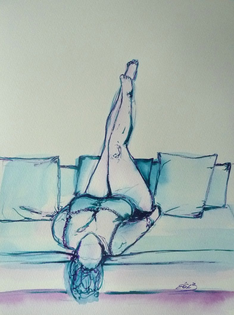 esquisse Elize pigmentropie femme plus size allongée sur un canapé