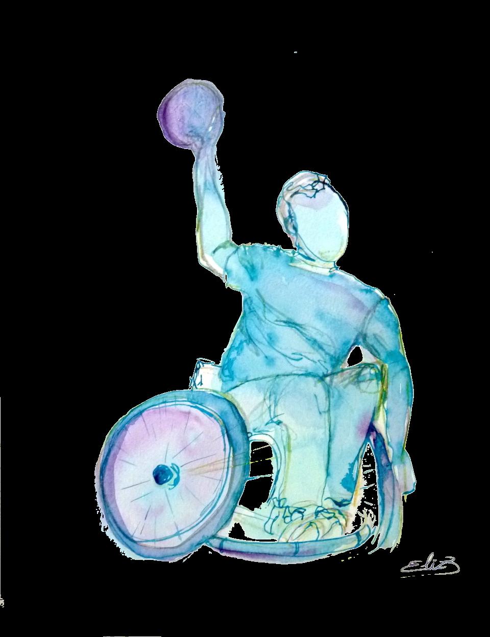 handball handisport fauteuil handicapé sport esquisse dessin pigmentropie Elize