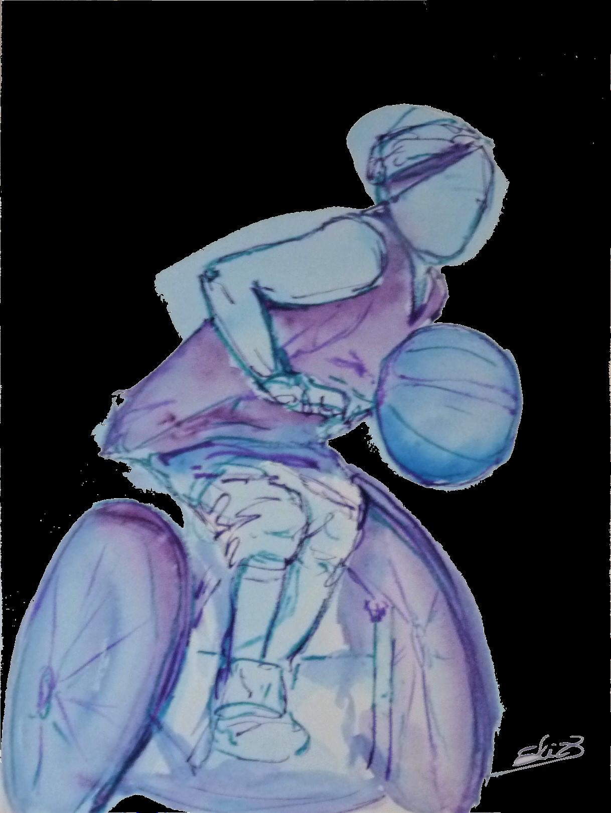 handicape basket handisport art esquisse pigmentropie