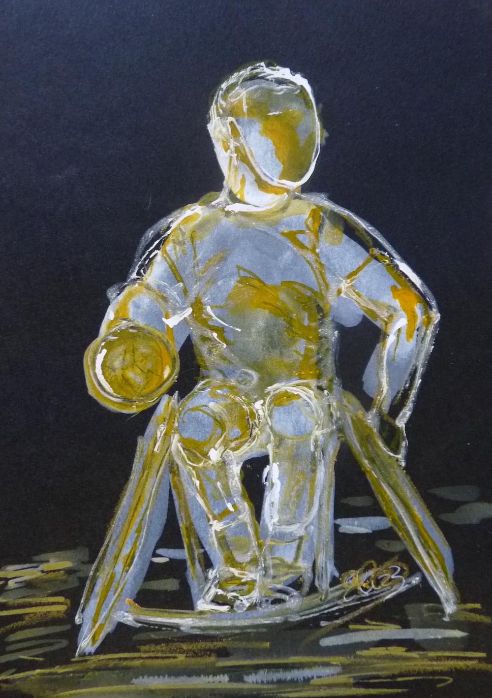 handisport sur fond noir jaune sportif esquisse pigmentropie dessin encre