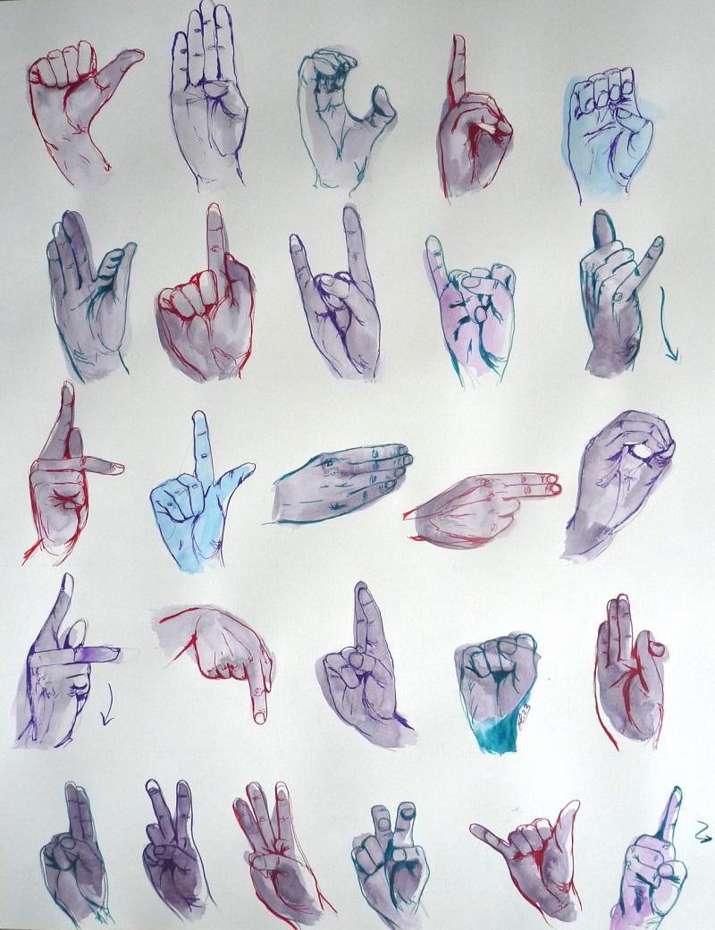 langue des signes abecedaire dessin