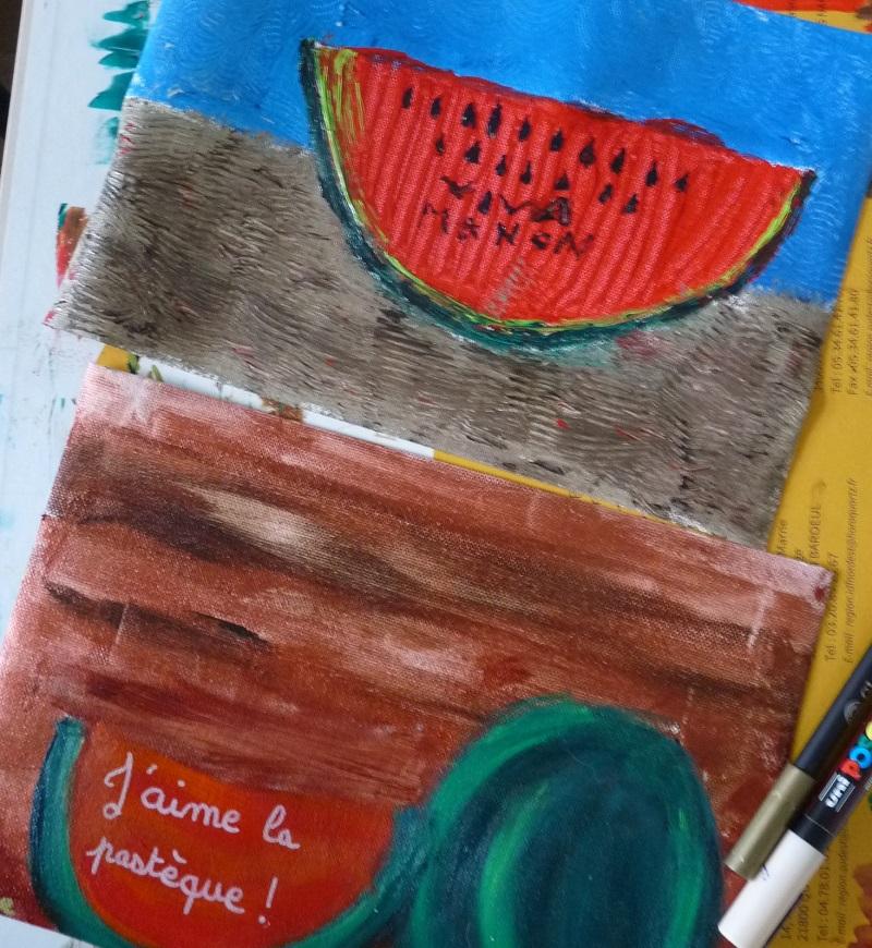 peintures enfants de pasteque inspirés par frida kahlo