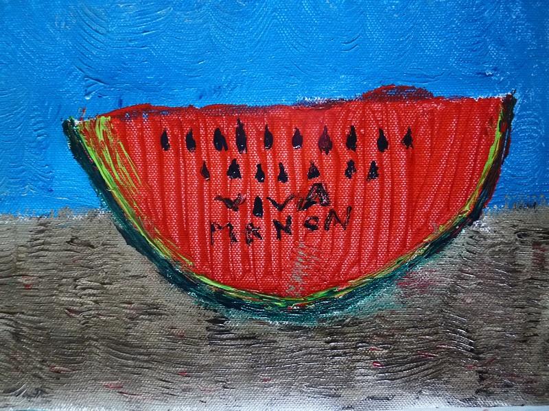 Peinture sur toile inspirée des pastèques de Frida Kahlo