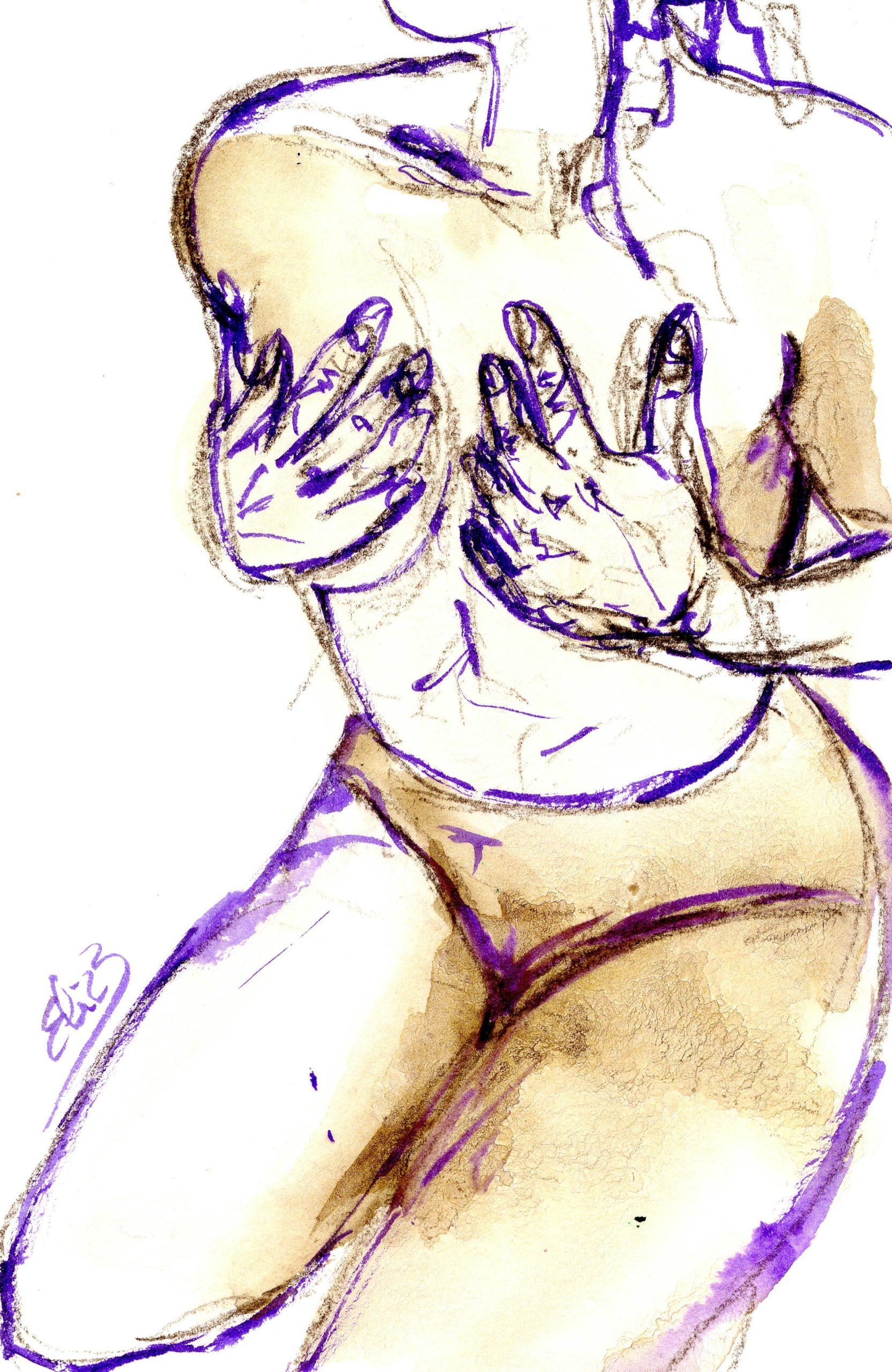 mains sur la poitrine buste esquisse dessin artistique Elize pigmentropie