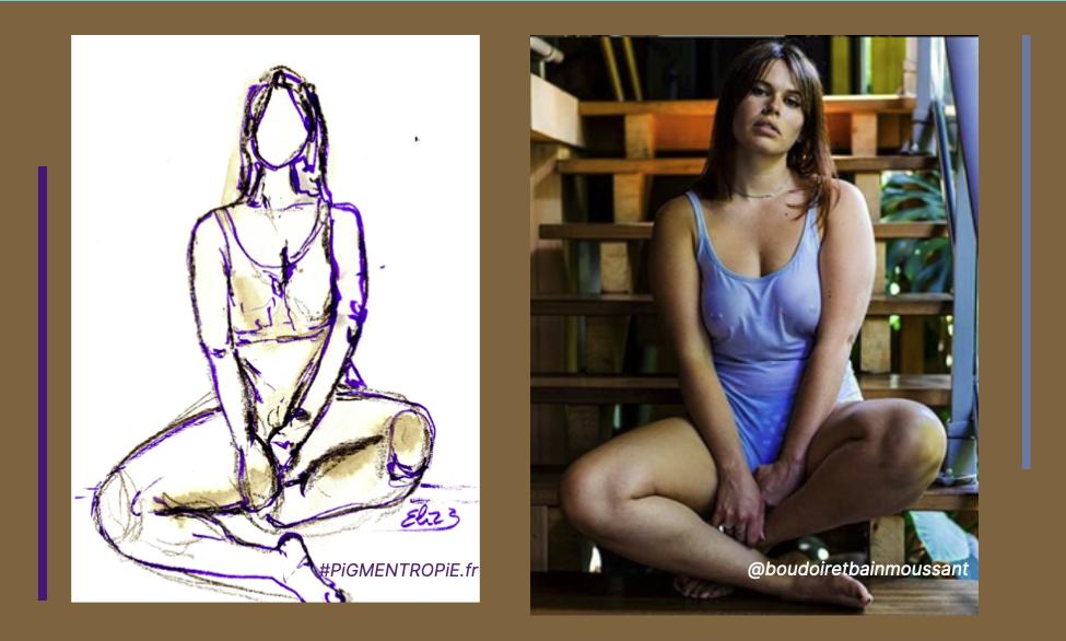 dessin d'après photo style Elize trait pigmentropie encre