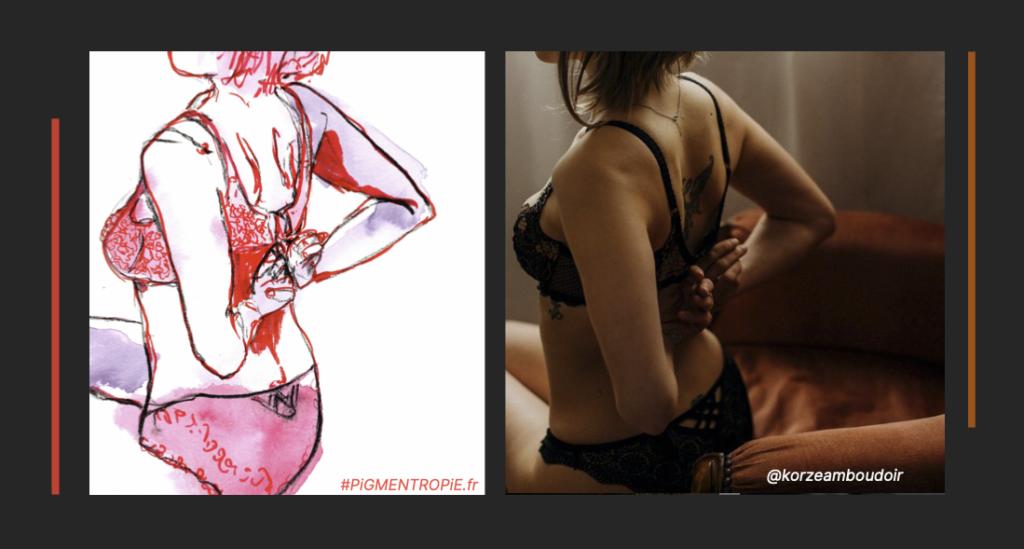 jeu de jambes esquisse comparaison photo dessin degrafage soutien gorge femme intime boudoir