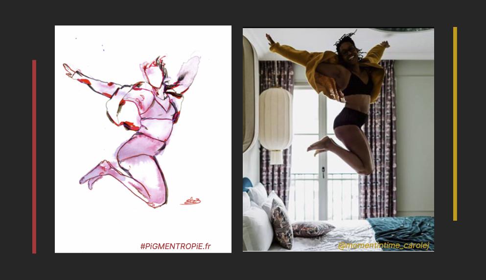 Elize pigmentropie esquisse comparaison photo dessin sauter sur un lit libre femme