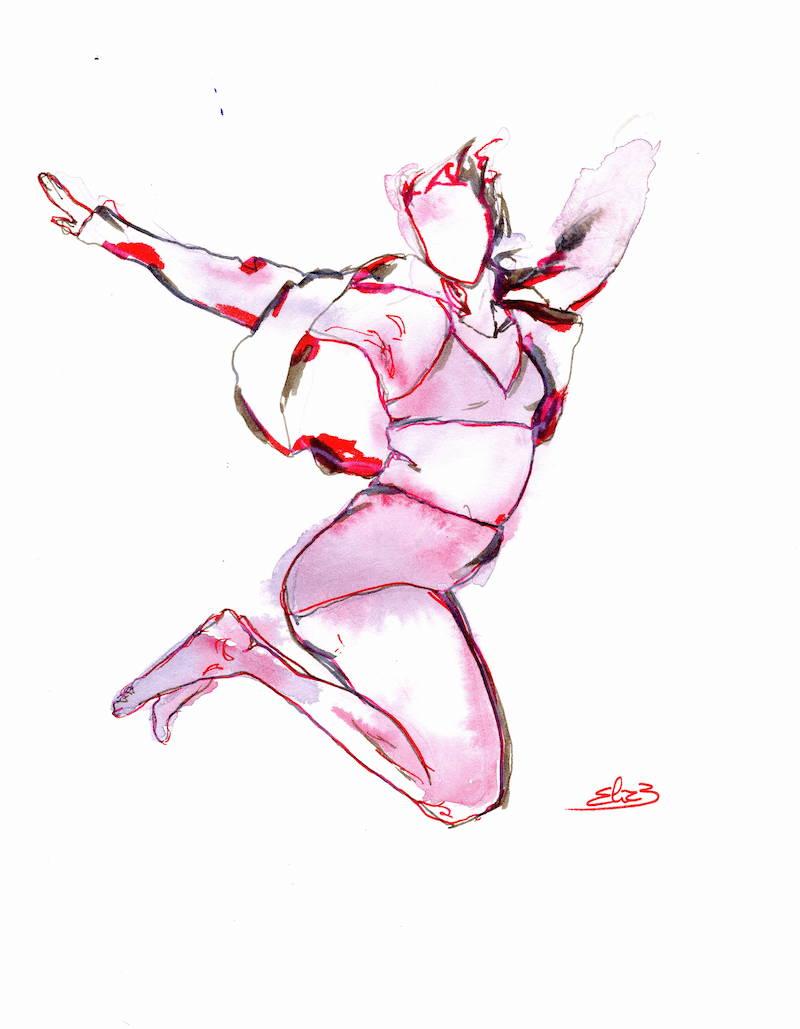 saut femme libre en sous-vêtements dessin rouge et gris esquisse Elize pigmentropie