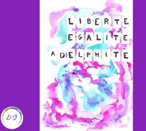 adelphité affiche aquarelle rose