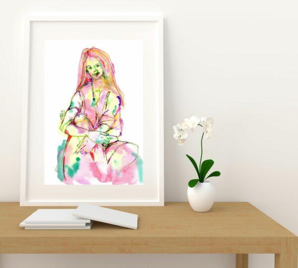 affiche portrait elize aquarelle