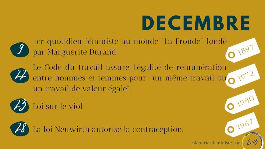 décembre féministe histoire femme legalisation pilule contraception fronde