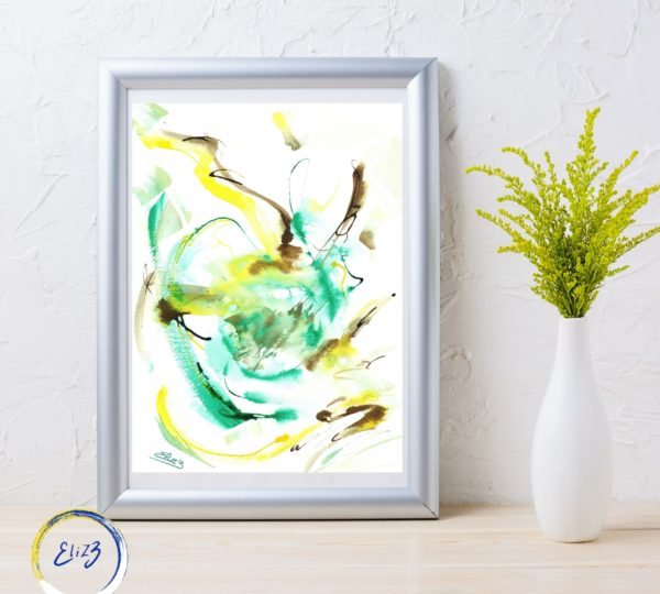abstraction jaune et verte elize pigmentropie