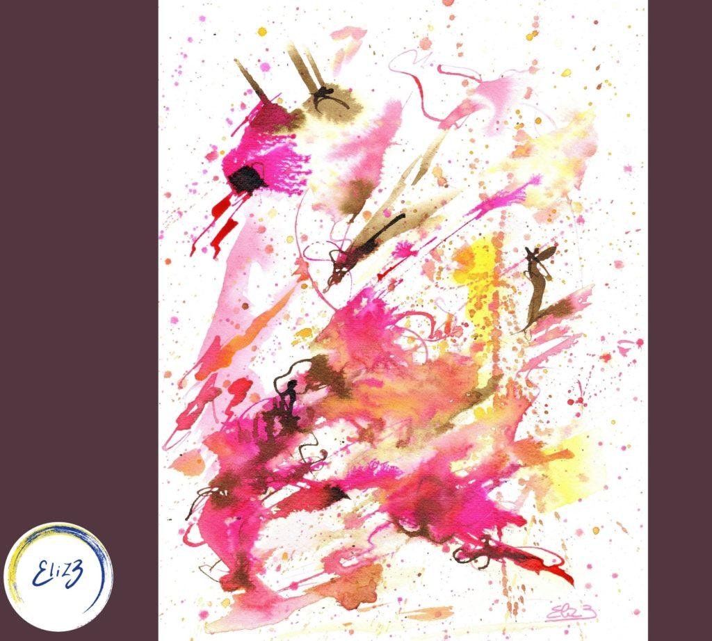 peinture aquarelle encre elize abstrait