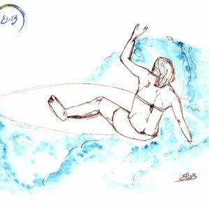 surfeuse vague dessin bleu