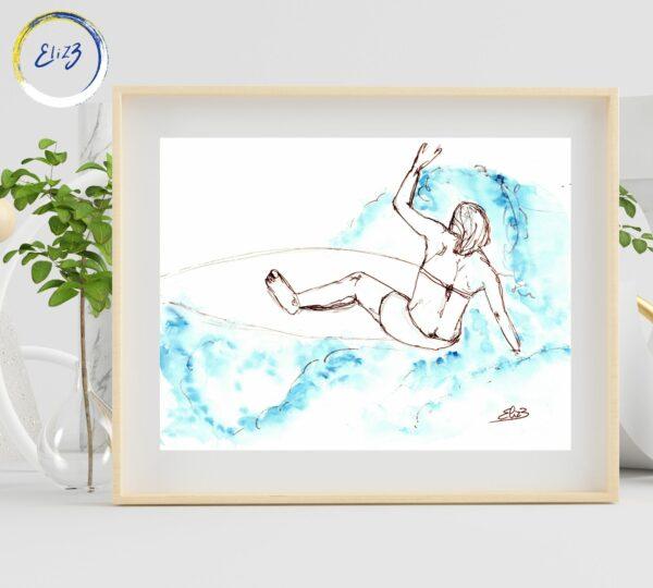 surf pratiquée par une femme cadre