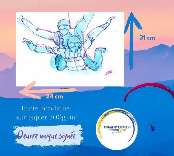 saut en parachute en tandem artistique