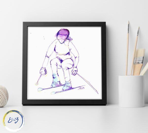 art à encadrer skieuse