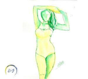 femme en maillot jaune
