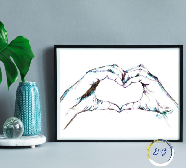 coeur avec les mains dessin original encadre