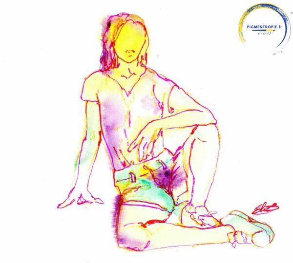 portrait d'une jeune femme aux couleurs variées par elize pigmentropie