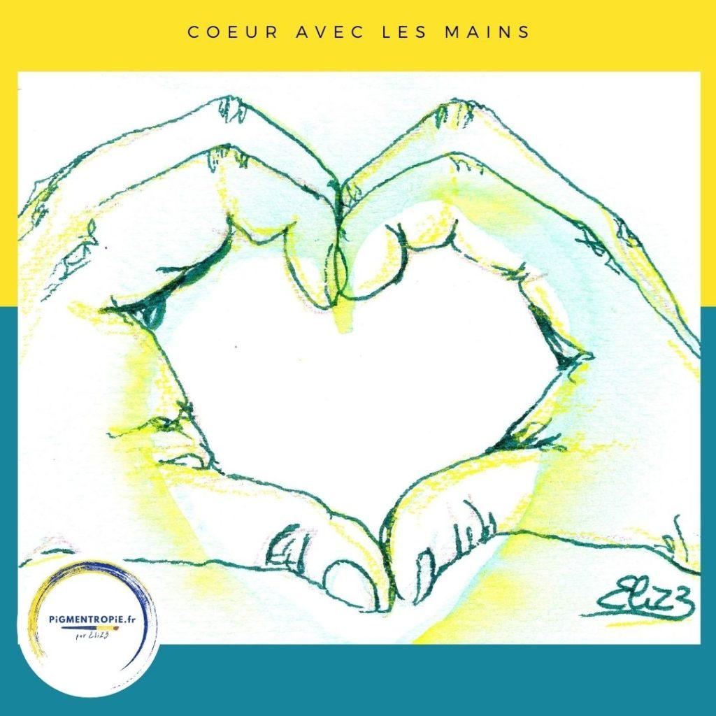 coeur avec les doigts dessin jaune vert