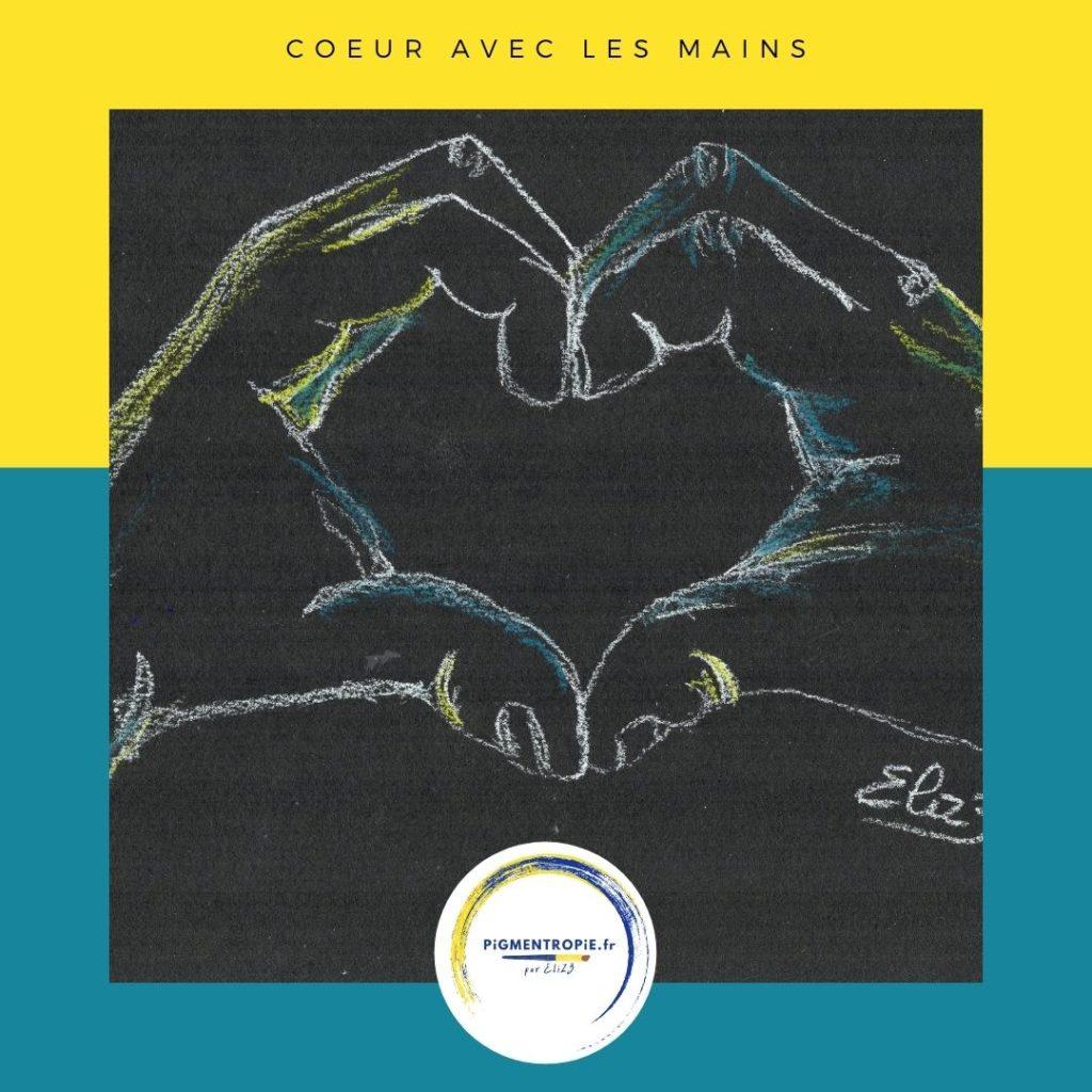 dessin d'un coeur formé par des mains