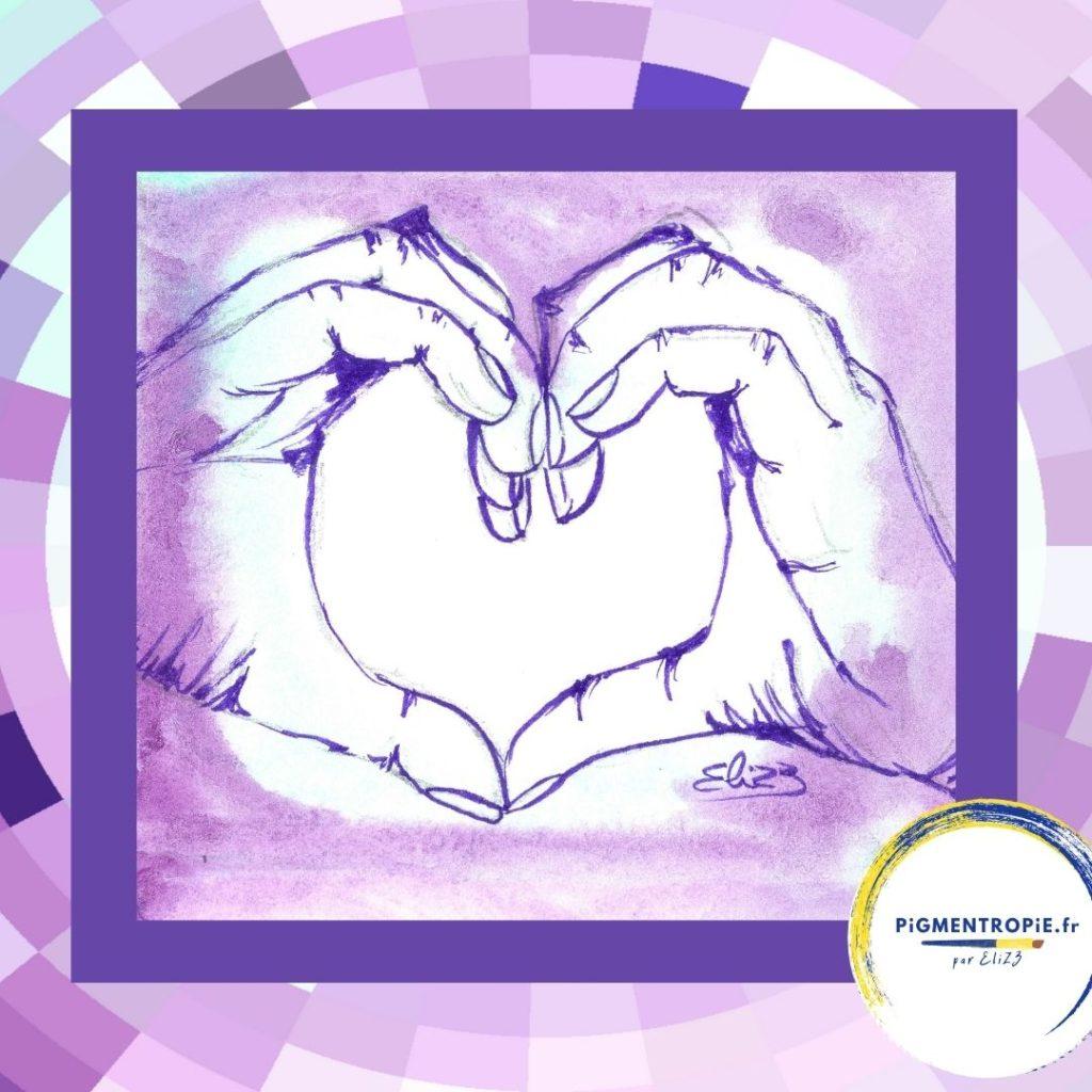 petit coeur avec les mains violet